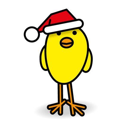 gazing: Single Smiling Yellow Chick wearing Red Santa Hat Staring towards camera on White Background
