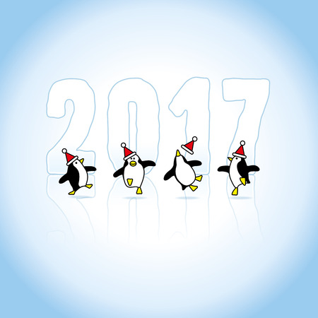 cheeky: Four Happy Santa Penguins Dancing in front of Year 2017 made in Ice