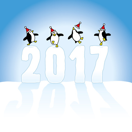 Four Happy Santa Penguins Dancing on top of Year 2017 made in Snow on Blue Horizon