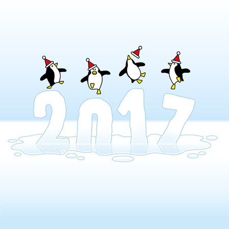 Four Happy Santa Penguins Dancing on top of melting Year 2017 made of Ice Illustration