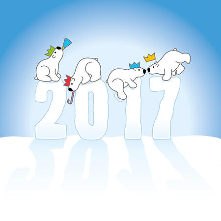 paper sculpture: Four Partying Polar Bears Wearing Paper hats Balancing on New Year 2017 numbers on an Ice Blue Cold Background Illustration