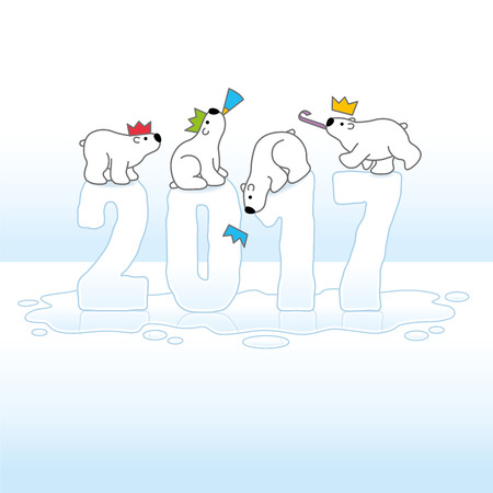 Four Cute Polar Bears wearing Paper Hats Balancing on Melting New Year 2017 with Reflections in an Ice Cold Puddle
