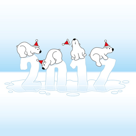 Four Cute Polar Bears wearing Santa Hats Balancing on Melting New Year 2017 with Reflections in an Ice Cold Puddle Illustration