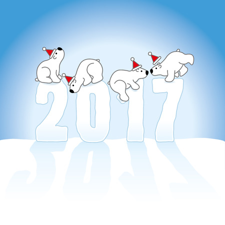 balancing: Four Cute Polar Bears wearing Santa Hats Balancing on New Year 2017 numbers on an Ice Blue Cold Background