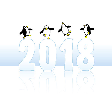 Four Happy Penguins Dancing on top of Year 2018 made in Ice Illustration