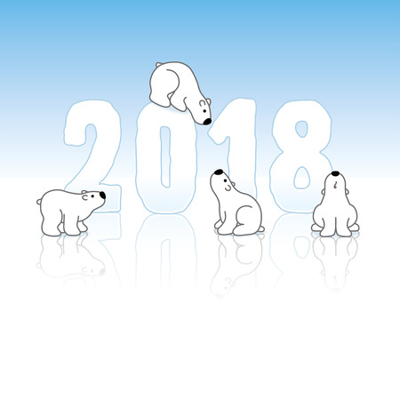 Four Cute Polar Bears and New Year 2018 with Reflections on an Ice Blue Cold Background