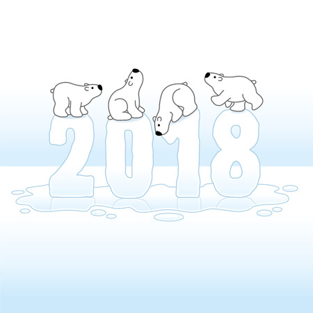 gazing: Four Cute Polar Bears Balancing on Melting New Year 2018 with Reflections in an Ice Cold Puddle