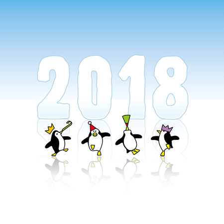 Four Happy Party Penguins Dancing in front of Year 2018 made in Ice Illustration