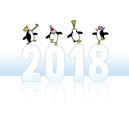 Four Happy Party Penguins Dancing on top of Year 2018 made in Ice Illustration