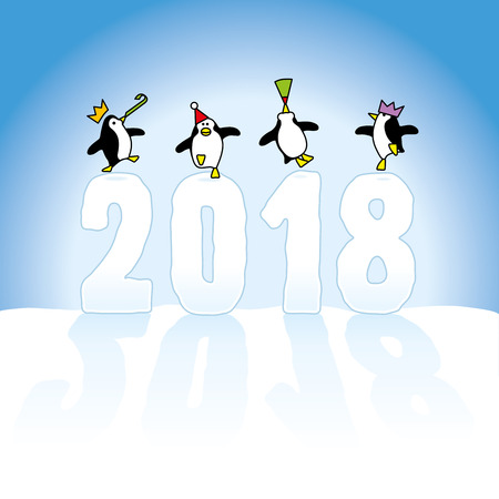 Four Happy Party Penguins Dancing on top of Year 2018 made in Snow on Blue Horizon