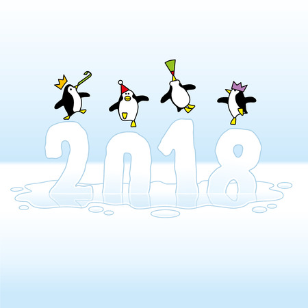 webbed: Four Happy Party Penguins Dancing on top of melting Year 2018 made of Ice Illustration