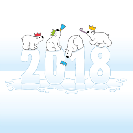 paper hats: Four Cute Polar Bears wearing Paper Hats Balancing on Melting New Year 2018 with Reflections in Ice Cold Puddle