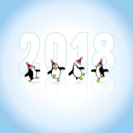 Four Happy Santa Penguins Dancing in front of Year 2018 made in Ice