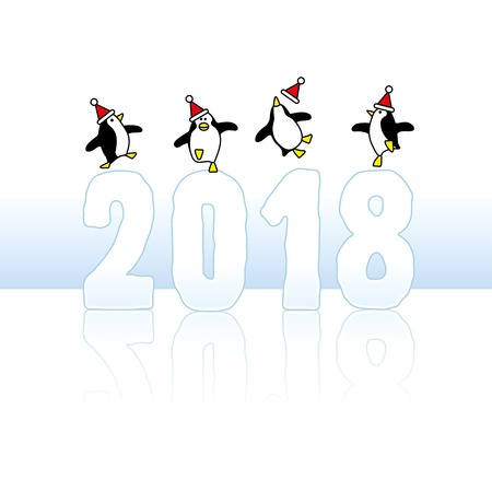 Four Happy Santa Penguins Dancing on top of Year 2018 made in Ice