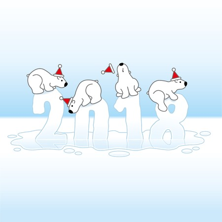 Four Cute Polar Bears wearing Santa Hats Balancing on Melting New Year 2018 with Reflections in an Ice Cold Puddle