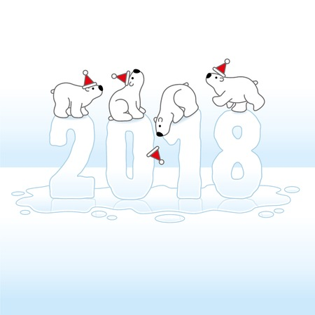 balancing: Four Santa Polar Bears Balancing wearing Hats on Melting New Year 2018 with Reflections in an Ice Cold Puddle