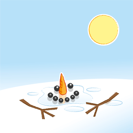Happy Melting Snowman with Carrot Nose and Stick Arms in Pool of Water in the Hot Sunshine