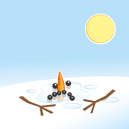 disappear: Unhappy Melting Snowman with Carrot Nose and Stick Arms in Pool of Water in the Hot Sunshine