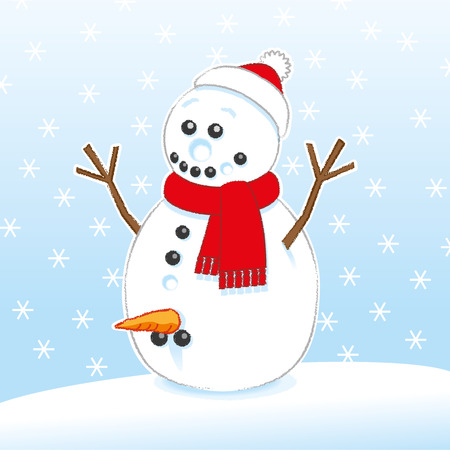 Happily Surprised Joke Rude Snowman with Carrot and Coal Genitals wearing Red Scarf and Santa Hat on Snowing Background
