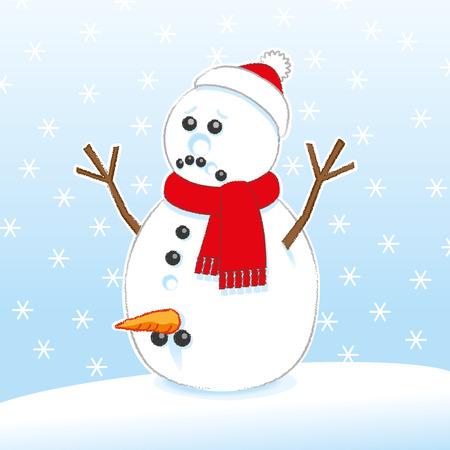 genitali: Sad Snowman rude sorpresa con la carota e il carbone Genitali indossare sciarpa rossa e il cappello della Santa su Snowing Background Vettoriali