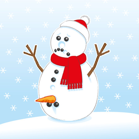 misery: Sad Surprised Rude Snowman with Carrot and Coal Genitals wearing Red Scarf and Santa Hat on Snowing Background