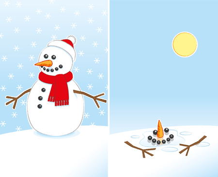 Happy Snowman with Carrot Nose and Stick Arms wearing Red Scarf and Santa Hat finally Melting in the warm Sunshine in 2 Frames