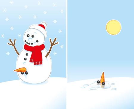 pene: Gratamente sorprendido muñeco de nieve Rude Broma con la zanahoria y el carbón Genitales desgasta la bufanda roja y gorra de Santa fin de fusión en el Sol sobre 2 cuadros