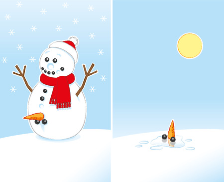 Happily Surprised Rude Joke Snowman with Carrot and Coal Genitals wearing Red Scarf and Santa Hat finally Melting in the Sunshine over 2 frames