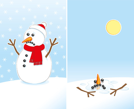 Unhappy Snowman with Carrot Nose and Stick Arms wearing Red Scarf and Santa Hat finally Melting in the warm Sunshine in 2 Frames