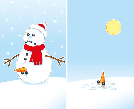 genitals: Sad Rude Joke Snowman with Carrot and Coal Genitals wearing Red Scarf and Santa Hat finally Melting in the Sunshine
