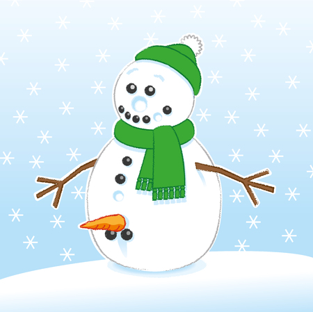 Happy Surprised Joke Rude Snowman with Carrot and Coal Genitals wearing Green Scarf and Santa Hat on Snowing Background
