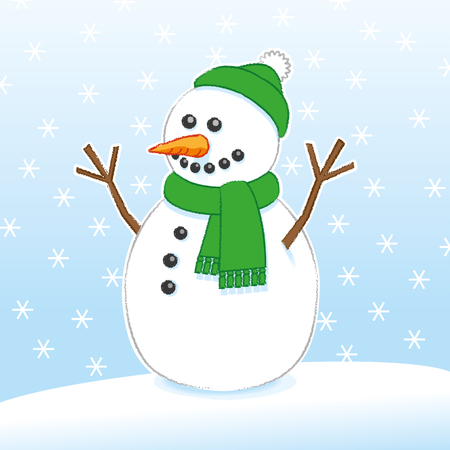 Happy Snowman with Carrot Nose and Stick Arms wearing Green Scarf and Santa Hat on Snowing Background Illustration