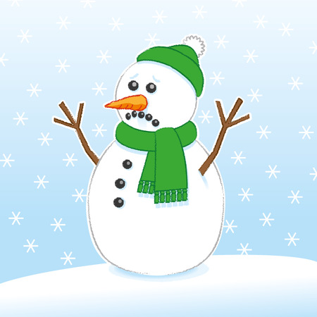 Sad Surprised Snowman with Carrot and Coal face wearing Green Scarf and Santa Hat on Snowing Background Illustration