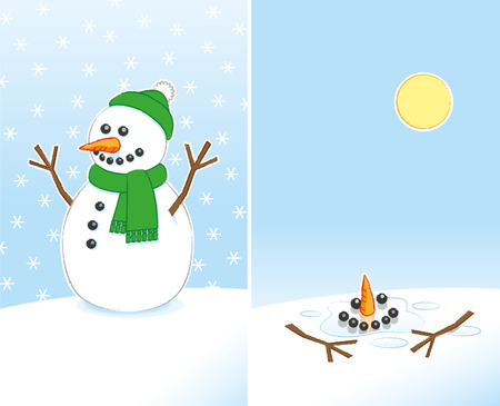 bobble: Happy Snowman with Carrot Nose and Stick Arms wearing Green Scarf and Bobble Hat finally Melting in the warm Sunshine over 2 Frames