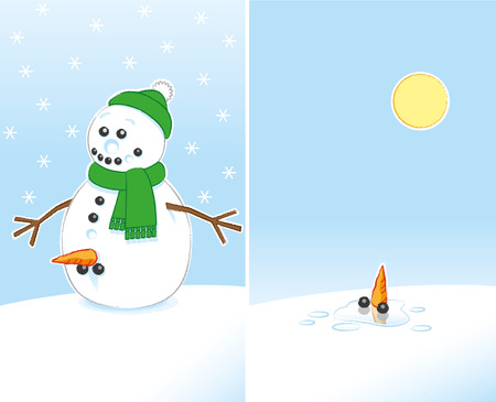 Happy Rude Joke Snowman with Carrot and Coal Genitals wearing Green Scarf and Bobble Hat finally Melting in the Sunshine over 2 frames Illustration