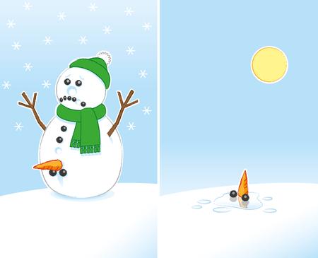 genitali: Sad Snowman rude Joke con la carota e il carbone Genitali indossare sciarpa verde e cappello Bobble, infine, la fusione in Luce del sole Vettoriali