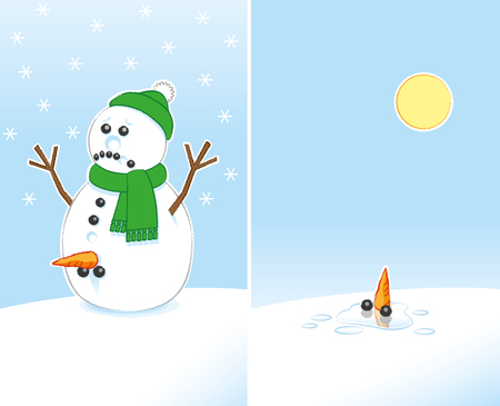 Sad Rude Joke Snowman with Carrot and Coal Genitals wearing Green Scarf and Bobble Hat finally Melting in the Sunshine Illustration