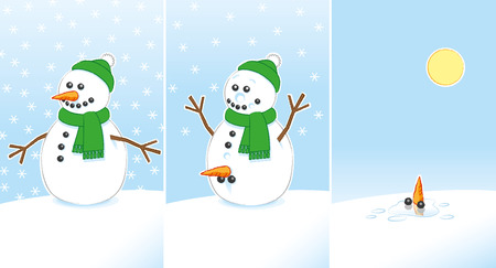 Happy Rude Joke Snowman with Carrot and Coal Genitals wearing Green Scarf and Bobble Hat finally Melting in the Sunshine over 3 frames Illustration