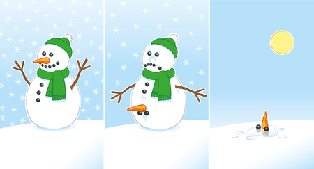 finally: Happy then Sad Rude Joke Snowman with Carrot and Coal Genitals wearing Green Scarf and Bobble Hat finally Melting in the Sunshine over 3 frames