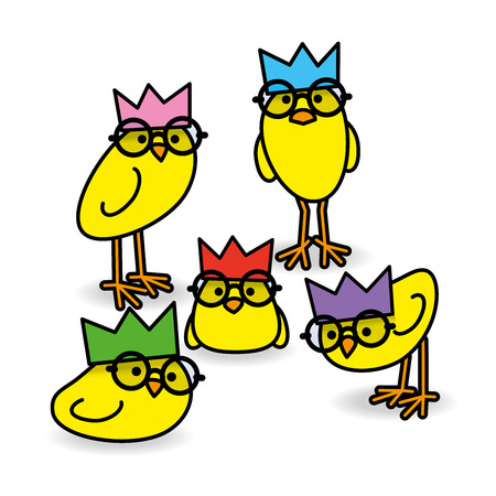 gazing: Five Cute Staring Yellow Chicks Wearing Party Hats and Black Round Frame Glasses on White Background