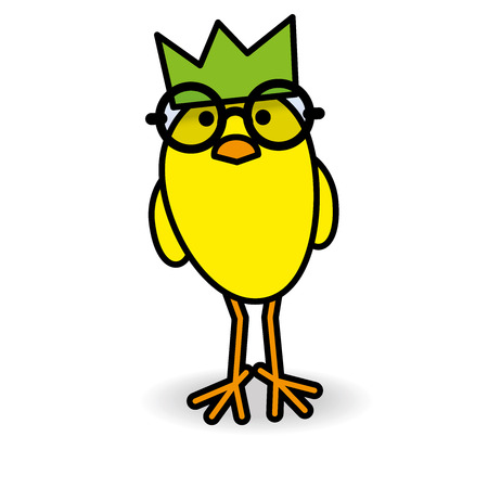 gazing: Single Staring Yellow Chick Wearing Green Party Hat and Round Black Rimmed Spectacles Smiling towards camera on White Background