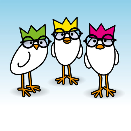 gazing: Three Cute Staring White Chicks Wearing Party Hats and Black Round Frame Glasses on Blue Background