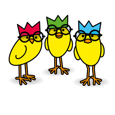 Three Cute Staring Yellow Chicks Wearing Party Hats and Black Round Frame Glasses on Blue Background.