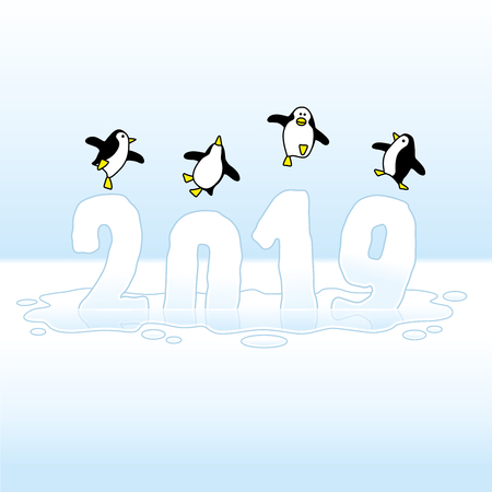 Four Happy Penguins Dancing on top of melting Frozen Year 2019 made of Ice