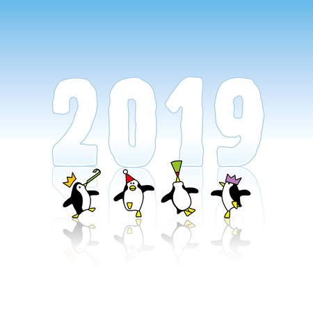 Four Happy Party Penguins Dancing in front of Frozen Year 2019 made in Ice