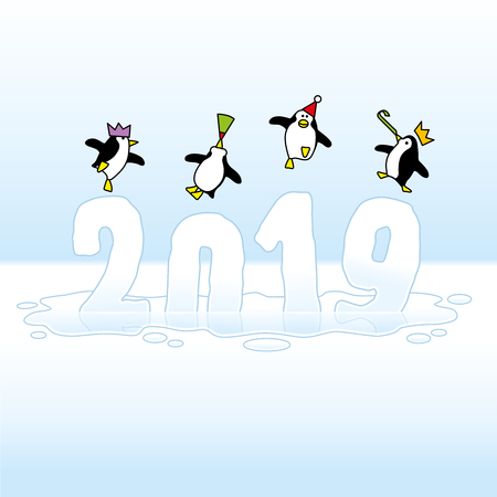 Four Happy Party Penguins Dancing on top of melting Year 2019 made of Ice Illustration