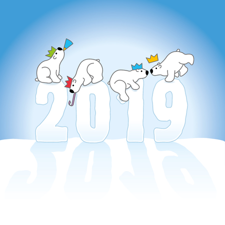 Four Partying Polar Bears Balancing on Frozen New Year 2019 numbers on Snow with an Ice Blue Cold Background