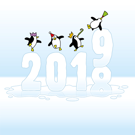 Four Happy Party Penguins Dancing on top of melting frozen Year 2018-2019 made of Ice Illustration