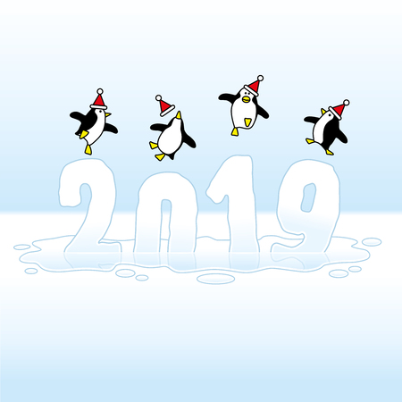 Four Happy Santa Penguins Dancing on top of Melting Frozen Year 2019 made of Ice