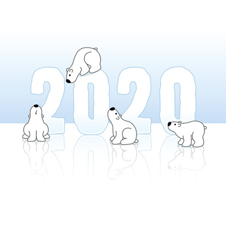 Four Cute Polar Bears around Frozen New Year 2020 on an Ice Blue Cold Background with Reflections